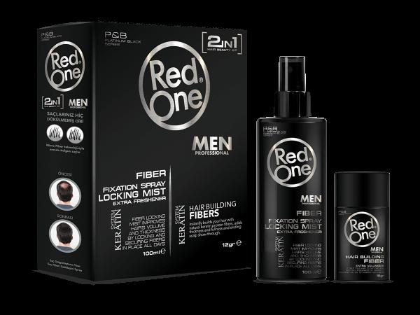 RedOne Haaraufbaufasern BLACK 12g + Haarfaserfixierungsspray 100ml