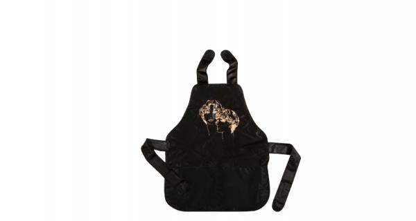 Comair Färbeschürze mit aufgesetzen Tasche schwarz 58x72cm GOLD FACES gewebt