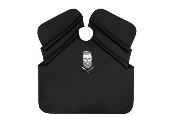 Comair Umhang Barber Skull, schwarz 127x147 cm wasserabweisend Hakenverschluss Polyester