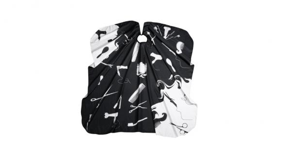 Comair Umhang Hairworld 135x143cm mit Hakenverschluss schwarz/weiß Polyester