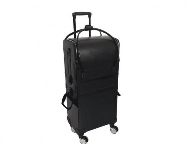 Comair Werkzeugkoffer Aluminium Duo schwarz 3 auf Rollen mit abnehmbaren Taschen