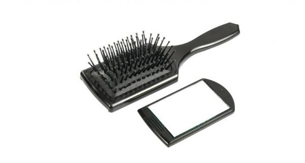 Comair Mini Paddlebrush mit herausziehbarem Spiegel 7-reihig mit Nylonstiften