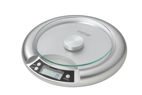 Comair Digitalwaage Q91 Glaswiegefläche silber runde Form inklusive Batterie